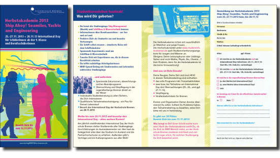Flyer für die Bremer Hochschule zum Mint-Bereich